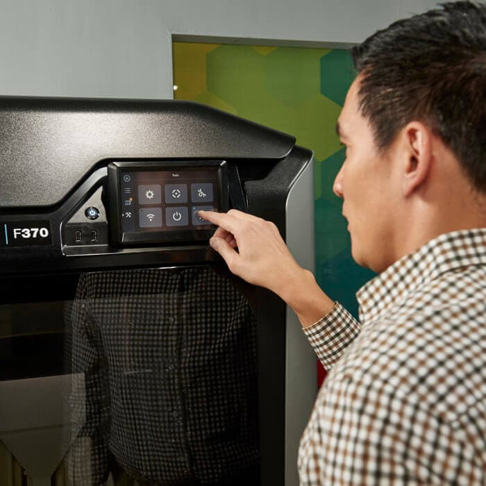 Operating touchscreen of Stratasys F370 3D printer